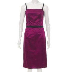 D&G Sz44 Satin Purple/ Black cocktail dress straps